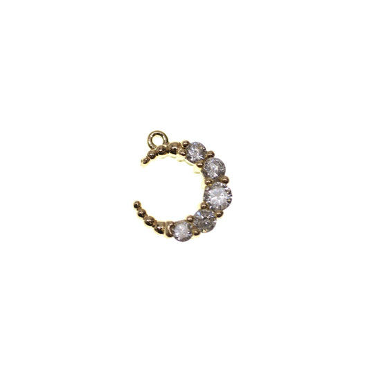 Gold Tone Rhinestone Moon - 2pcsCharm by Halcraft Collection
