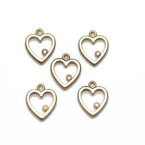 Gold Tone Heart with Rhinestone Charms - 5pcsCharm by Halcraft Collection