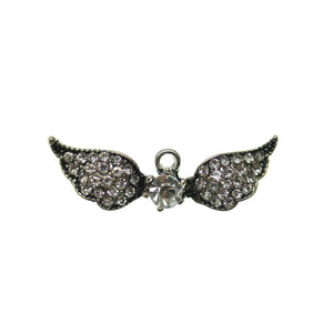30mm, 9mm, Charm, Crystal, Glass, Metal, Rhinestone, Silver, Silver Plated, Wing