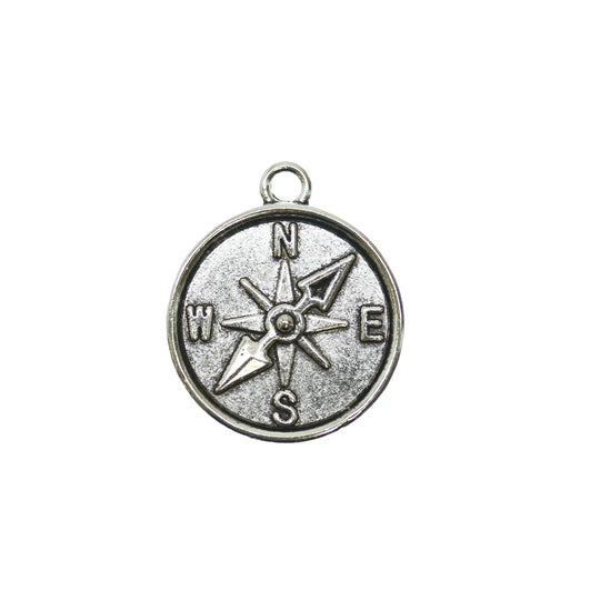 Silver Plated Compass 2 Sided 20mm  - 2pcsCharm by Halcraft Collection