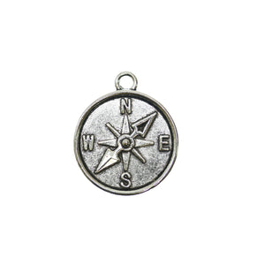 20mm, Charm, Compass, Metal, Silver, Silver Plated