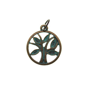 Patina Plated Tree 18mm  - 2pcsCharm by Halcraft Collection