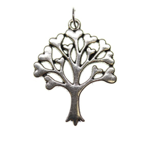 Antique Silver Plated Heart Tree Of Life One Sided 25X32mm  - 2pcsCharm by Bead Gallery
