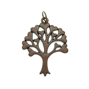 Antique Copper Tone Heart Tree Of Life One Sided 25X32mm  - 2pcsCharm by Bead Gallery