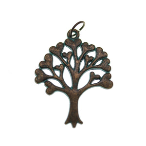 Patina Plated Heart Tree Of Life One Sided 25X32mm  - 2pcsCharm by Bead Gallery