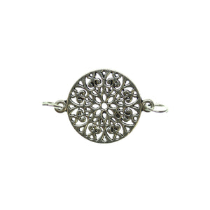 Antique Silver Plated Mandala Connector One Sided 24X29mm Connector by Bead Gallery