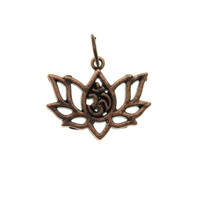 16mm, 16x20mm, 20mm, Aum Lotus, Brown, Charm, Charm Bead, Charm Beads, Copper, Metal