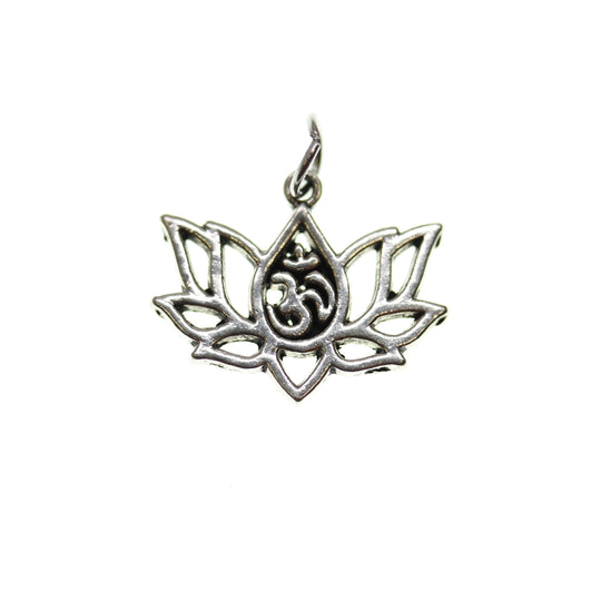 Antique Silver Plated Aum Lotus 16X20mm  - 2pcsCharm by Halcraft Collection