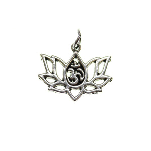Chapado en plata antigua Aum Lotus 16X20mm - 2pcsCharm por Bead Gallery