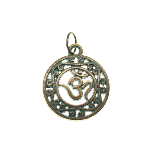 Patina Plated Filagree Aum 19mm  - 2pcsCharm by Bead Gallery