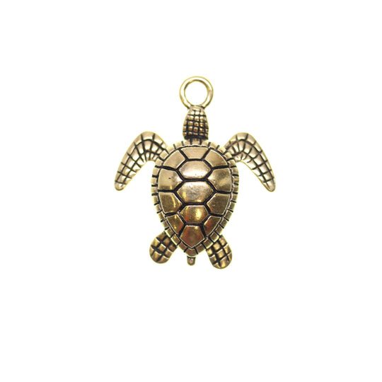 Antique Gold Tone Sea Turtle One Sided 24X28mm  - 2pcsCharm by Bead Gallery