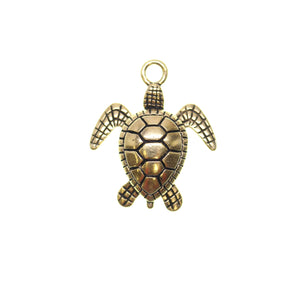24mm, 24x28mm, 28mm, Antique Gold, Charm, Charm Bead, Charm Beads, Gold, Metal, Sea Turtle, Turtle