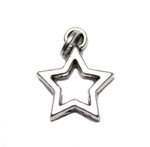 Antique Silver Plated Hollow Star Charm 12x15mm  - 2pcsCharm by Bead Gallery