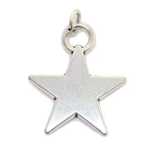 Antique Silver Plated Star Charm 18x22mm  - 2pcsCharm by Halcraft Collection