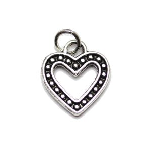 Charm, Charms, Silver Charm, Antique Charm, Plated Charm, Charm Bead, Charm Beads, Metal, Metal Charm, Two sided, Two sided Charm, Silver, Silver Tone, Antique, Silver Tone Antique, Silver Tone Antique Charm, Heart, Heart Charm, 13x14mm, 13mm, 14mm