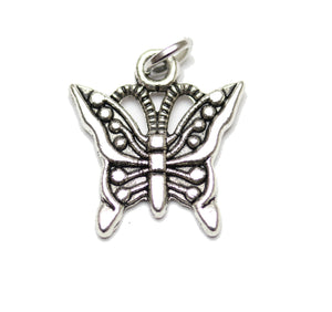 Antique Silver Plated Butterfly Charm16x17mm  - 2pcsCharm by Bead Gallery