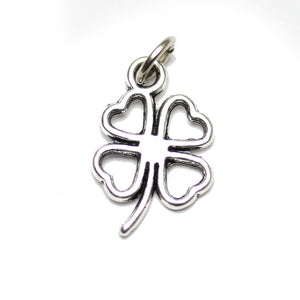 Charm, Charms, Silver Charm, Antique Charm, Plated Charm, Charm Bead, Charm Beads, Metal, Metal Charm, Two sided, Two sided Charm, Silver, Silver Tone, Antique, Silver Tone Antique, Silver Tone Antique Charm, Four Leaf Clover, Clover, Four Leaf Clover Charm, Clover Charm, 10x18mm, 10mm, 18mm