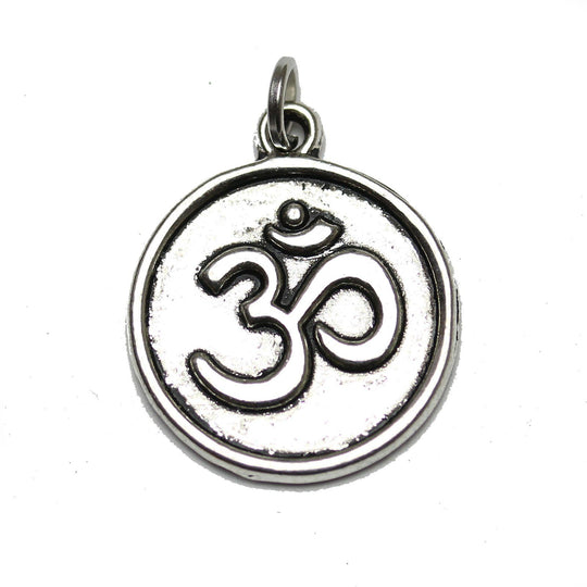Antique Silver Plated Aum Coin Charm 18mm  - 2pcsCharm by Halcraft Collection