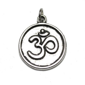 Antique Silver Plated Aum Coin Charm 18mm  - 2pcsCharm by Bead Gallery