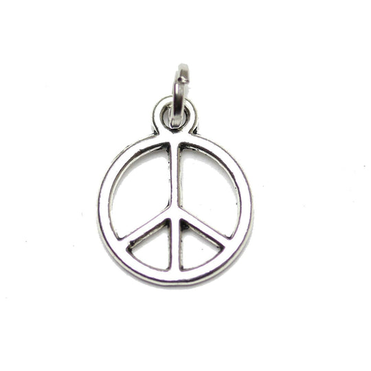 Antique Silver Plated Peace Charm 12mm  - 3pcsCharm by Halcraft Collection