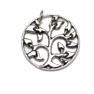 Charm, Charms, Silver Charm, Antique Charm, Plated Charm, Charm Bead, Charm Beads, Metal, Metal Charm, Two sided, Two sided Charm, Silver, Silver Tone, Antique, Silver Tone Antique, Silver Tone Antique Charm, Tree of Life, Lentil, Flat Round, Tree of Life Charm, Lentil Charm, Flat Round Charm, 23mm
