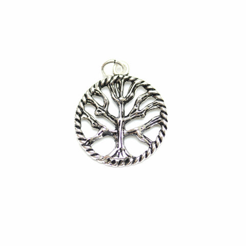 Charms, Charm, Charm Beads, Charm Bead, Plated, Antique, Silver, Antique Silver, Metal, Round Charm, Disc Charm, Round Disc Charm, Round, Disc, 21mm, Tree of Life Charm