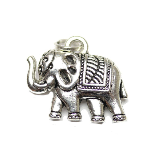 Antique Silver Plated Indian Elephant Charm 16x19mm  - 2pcsCharm by Halcraft Collection
