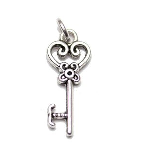 Charm, Charms, Silver Charm, Antique Charm, Plated Charm, Charm Bead, Charm Beads, Metal, Metal Charm, Two sided, Two sided Charm, Silver, Silver Tone, Antique, Silver Tone Antique, Silver Tone Antique Charm, Fancy Key, Key, Fancy Key Charm, Key Charm, 9x21mm, 9mm, 21mm