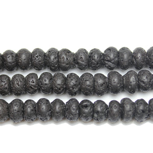 Black Lava Stone Rondell 5x8mm Beads by Halcraft Collection
