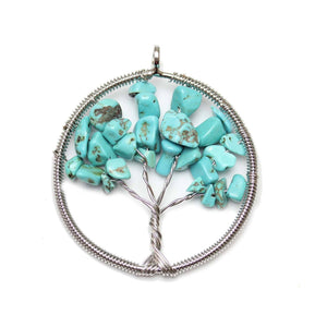 Turquiose Dyed Howlite Wire Wrapped Tree of Life Pendant Silver PlatedPendant by Halcraft Collection
