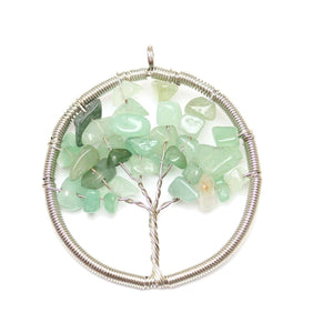 Green Aventurine Wire Wrapped Tree of Life Pendant Silver PlatedPendant by Halcraft Collection