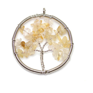 Citrine Wire Wrapped Tree of Life Pendant Silver PlatedPendant by Halcraft Collection