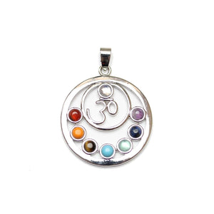 Natural & Dyed Stone Chakra Ohm Pendant 34mm  Silver PlatedPendant by Halcraft Collection
