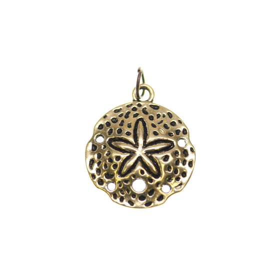 Tono de oro antiguo Sand Dollar One Sided 20mm - 2pcsCharm por Bead Gallery