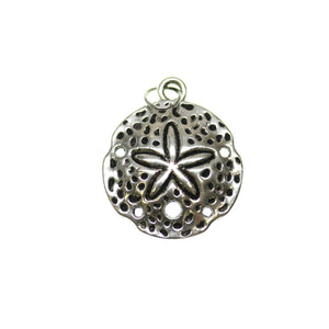 Antique Silver Plated Sand Dollar One Sided 20mm  - 2pcsCharm by Bead Gallery