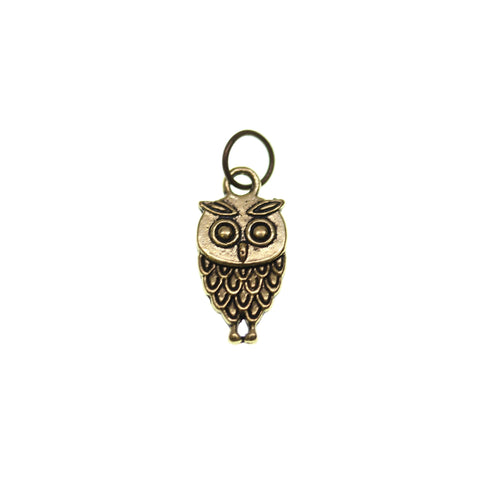 18mm, 9mm, 9x18mm, Antique Gold, Charm, Charm Bead, Charm Beads, Gold, Metal, Owl
