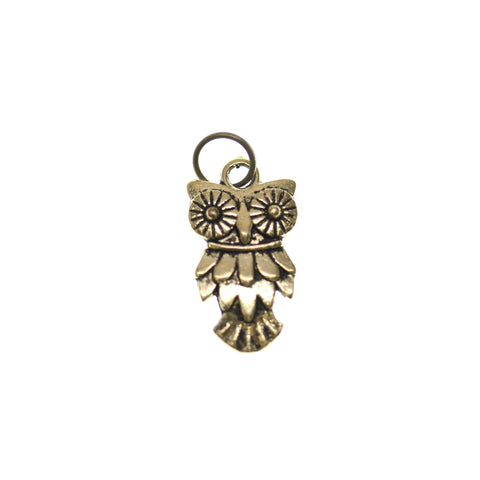 12mm, 12x19mm, 19mm, Antique Gold, Charm, Charm Bead, Charm Beads, Gold, Metal, Owl