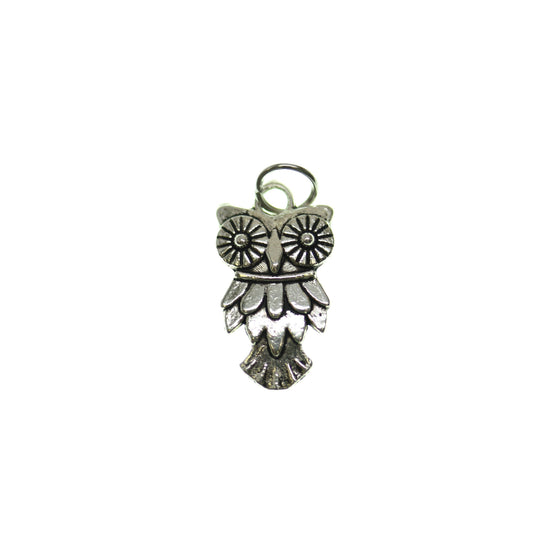 Antique Silver Plated Owl One Sided 12X19mm  - 2pcsCharm by Bead Gallery