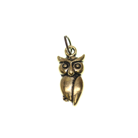 10mm, 10x21mm, 21mm, Antique Gold, Charm, Charm Bead, Charm Beads, Gold, Metal, Owl