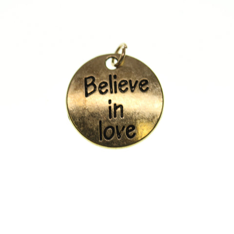 20mm, Antique Gold, Believe in Love, Charm, Charm Bead, Charm Beads, Gold, Metal
