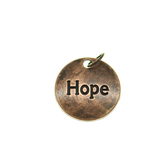 Tono de cobre antiguo Hope One Sided 20mm - 2pcsCharm by Bead Gallery