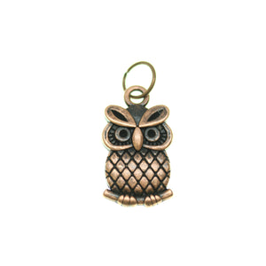 11mm, 11x20mm, 20mm, Brown, Charm, Charm Bead, Charm Beads, Copper, Metal, Owl