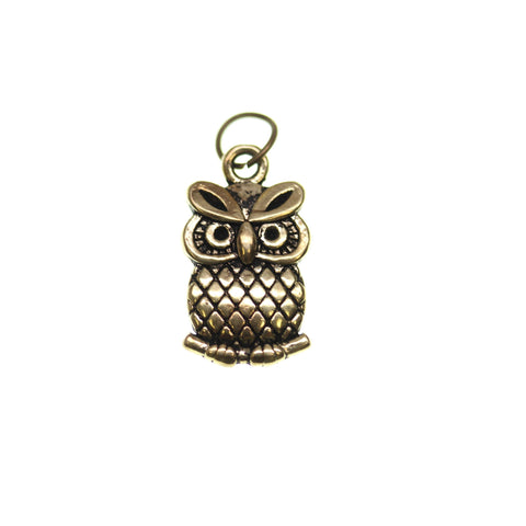 11mm, 11x20mm, 20mm, Antique Gold, Charm, Charm Bead, Charm Beads, Gold, Metal, Owl