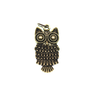Antique Gold Tone Owl One Sided 12X25mm  - 2pcsCharm by Bead Gallery