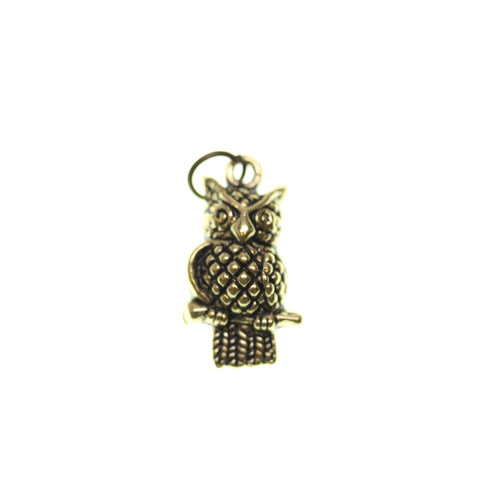 11mm, 11x21mm, 21mm, Antique Gold, Charm, Charm Bead, Charm Beads, Gold, Metal, Owl