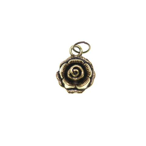 12mm, Antique Gold, Charm, Charm Bead, Charm Beads, Gold, Metal, Rose