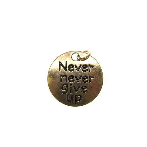 19mm, Antique Gold, Charm, Charm Bead, Charm Beads, Gold, Metal, Never never give up