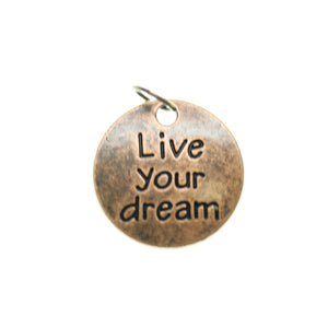 19mm, Brown, Charm, Charm Bead, Charm Beads, Copper, Live your dream, Metal