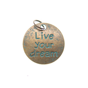 19mm, Blue, Charm, Charm Bead, Charm Beads, Live your dream, Metal, Patina, Turquoise