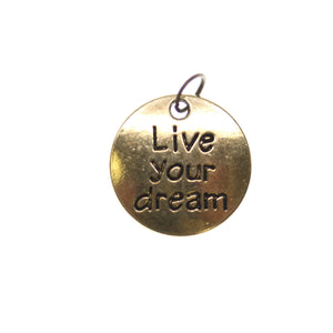 19mm, Antique Gold, Charm, Charm Bead, Charm Beads, Gold, Live your dream, Metal